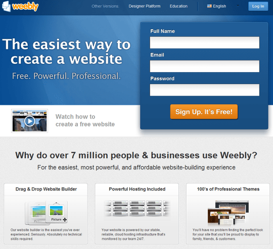 create a small business website with weebly