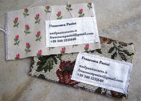 business card made of cloth