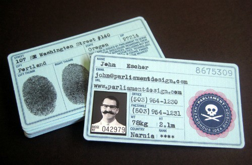 government issued id business card