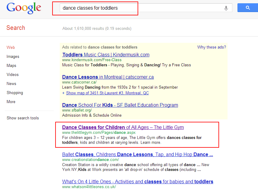 Perform google search for competitors