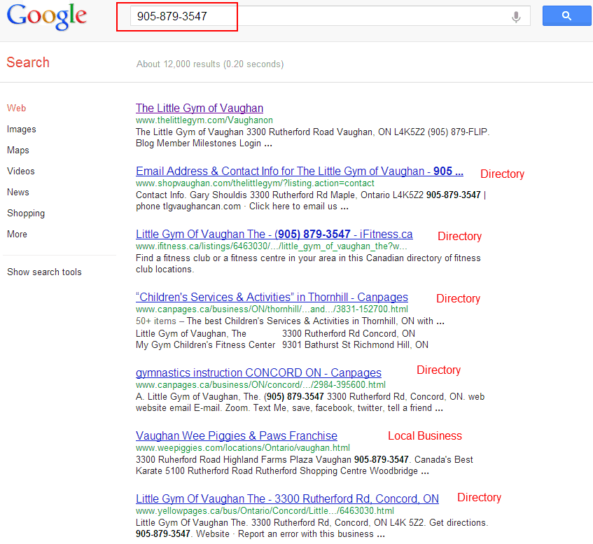 local listings from search query