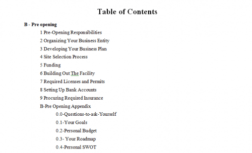 Sample table of contents-The Small Business Playbook