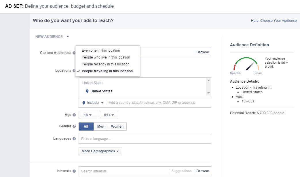 Facebook Ads People Travelling To Location