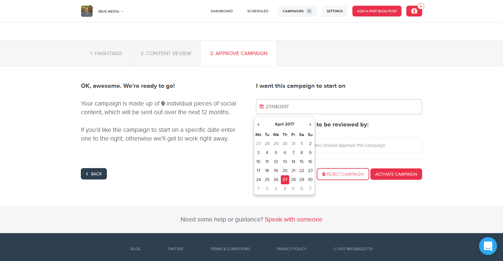 missinglettr campaign scheduler page