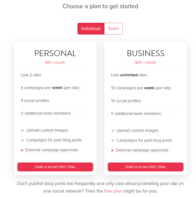 missinglettr pricing plans - personal business free plans