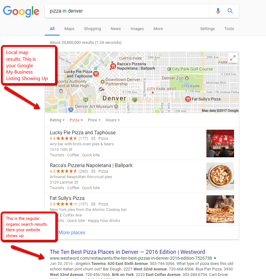 Sample local seo search results page in Google