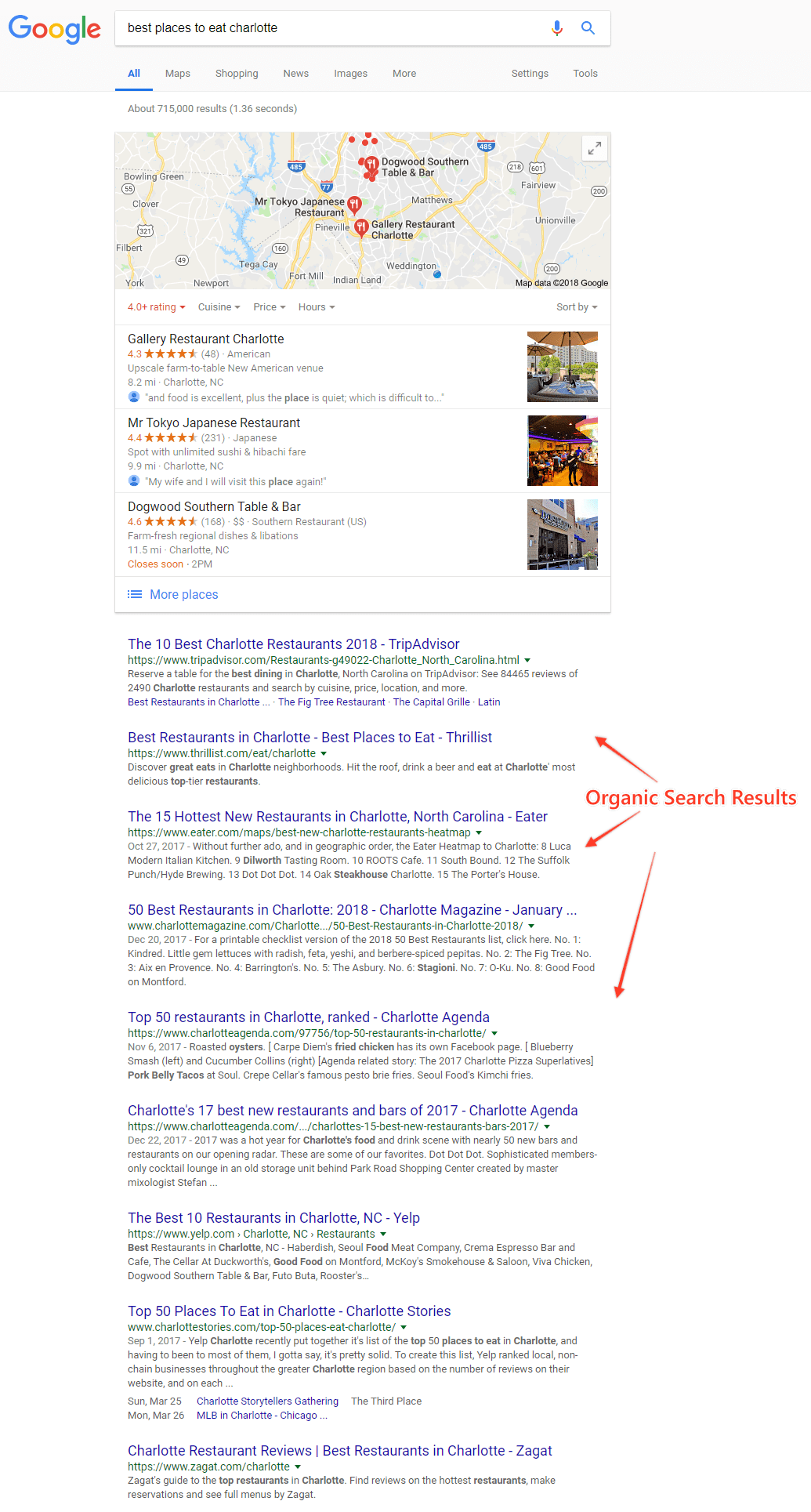 organic search results example local seo
