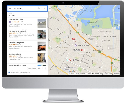 Google Adwords Local Search Ad Listing on Maps