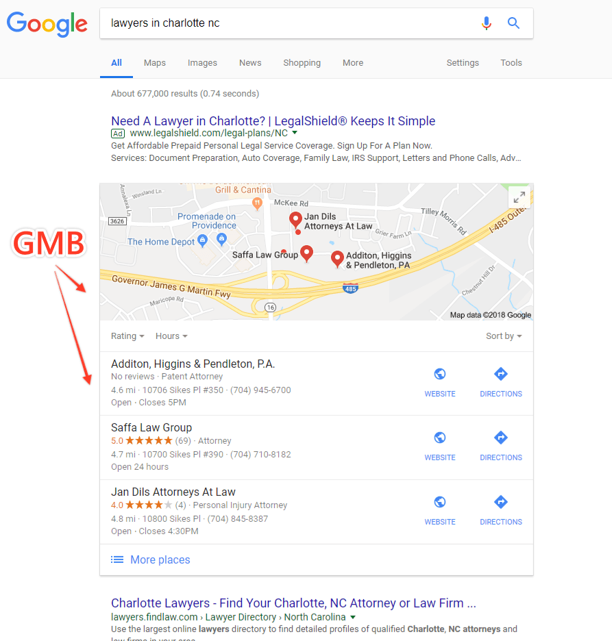 google my business map results
