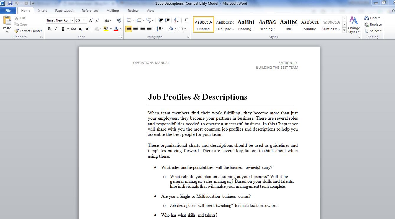 Hiring and Job Descriptions-Human Resources